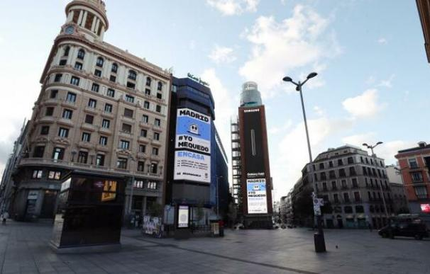 Imagen del centro urbano de Madrid durante el confinamiento
