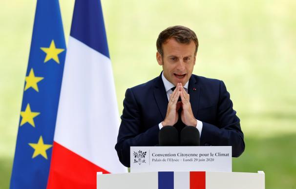 El presidente francés, Emmanuel Macron, durante una reunión con miembros de la Convención Ciudadana sobre el Clima.