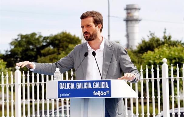 El presidente del PP, Pablo Casado en un mitin en As Pontes (A Coruña)