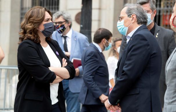 La alcaldesa de Barcelona, Ada Colau, y el president catalán, Quim Torra