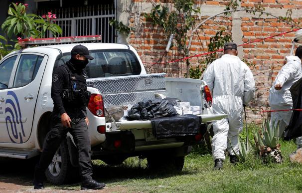 Miembros de la Fiscalía del Estado separan restos en el hallazgo reciente de una fosa en Jalisco.