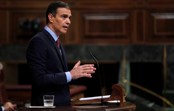 Pedro Sánchez durante su comparecencia en el Congreso de los Diputados