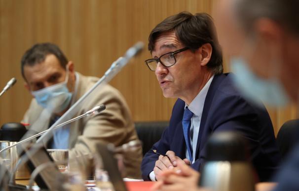 El ministro de Sanidad, Salvador Illa, durante su comparecencia en la Comisión de Sanidad del Congreso