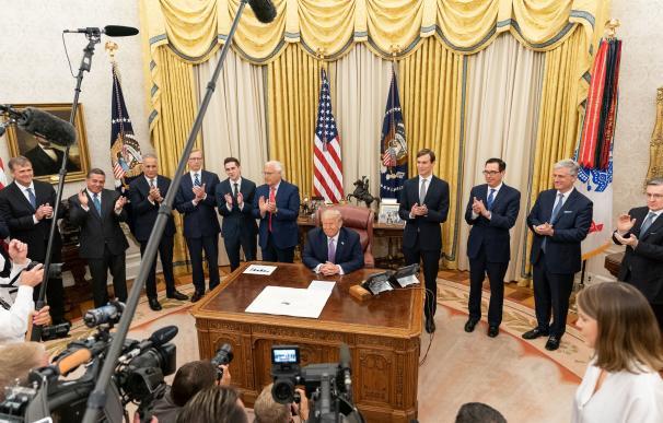 El presidente de Estados Unidos, Donald Trump, en rueda de prensa desde la Casa Blanca.
