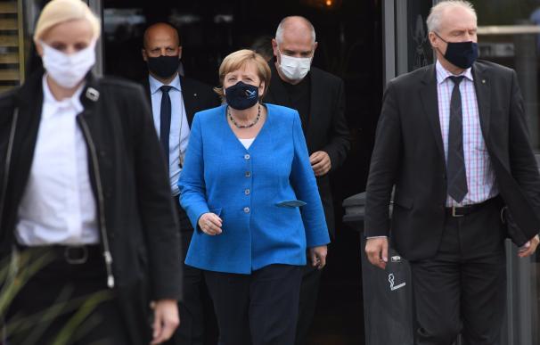 La canciller de Alemania, Angela Merkel, en un acto público en Stralsund.