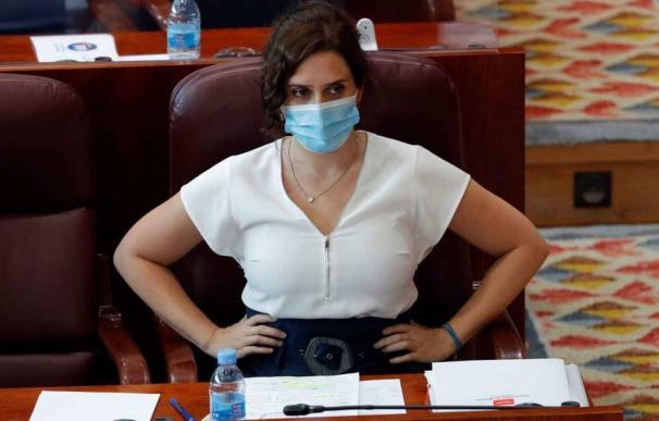 La presidenta de la Comunidad de Madrid, Isabel Díaz Ayuso, este martes en la Asamblea de Madrid