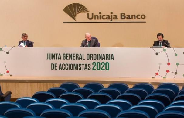 Imagen de la Junta General de Accionistas de Unicaja Banco, celebrada el 29 de abril de forma telemática.