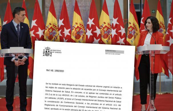 El presidente del Gobierno, Pedro Sánchez, y la presidenta de la Comunidad de Madrid, Isabel Díaz Ayuso, ofrecen una rueda de prensa tras su reunión en la sede de la Presidencia regional, en Madrid (España), a 21 de septiembre de 2020. El objeto de la cita ha sido abordar la crisis sanitaria del coronavirus y doblegar la curva en la Comunidad de Madrid. 21 SEPTIEMBRE 2020;COVID-19;CORONAVIRUS;CRISIS;PANDEMIA;CONFINAMIENTO 21/9/2020