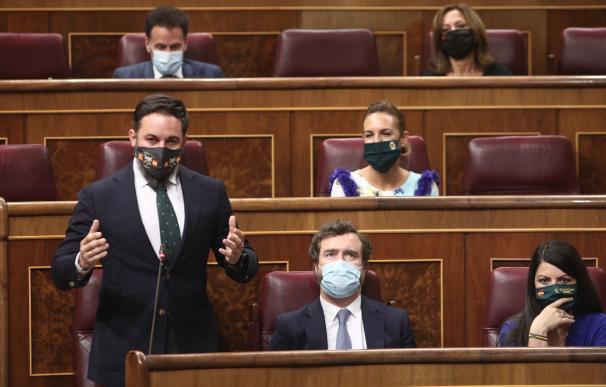 El presidente de Vox, Santiago Abascal, interviene durante la sesión de control al Gobierno en el Congreso.