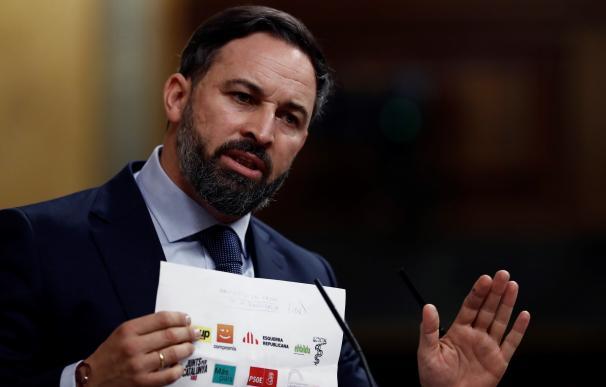 El líder de Vox, Santiago Abascal, durante su intervención en la segunda sesión del debate de moción de censura presentada por su partido, este jueves en el Congreso. EFE/Mariscal