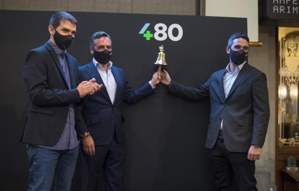 Sergio Aguado, Vicente Montesinos y Alfredo R. Cebrián, directivos de Cuatroochenta en su debut en el BME Growth