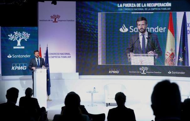El presidente del PP, Pablo Casado, durante su intervención en el Congreso del IEF.