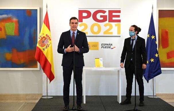 Pedro Sánchez y Pablo Iglesias, durante la presentación del anteproyecto de Presupuestos