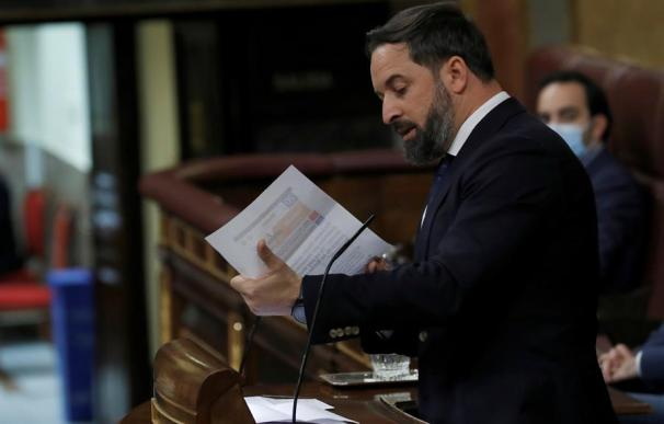 El líder de Vox, Santiago Abascal , durante su intervención en el pleno del Congreso del pasado jueves