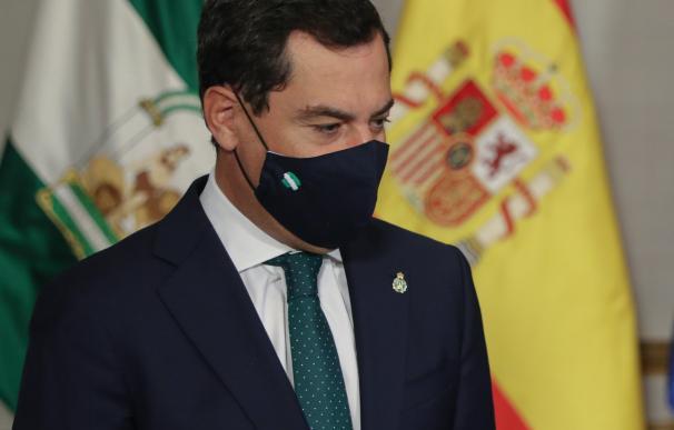 El presidente de la Junta de Andalucía, Juanma Moreno, en una intervención pública.