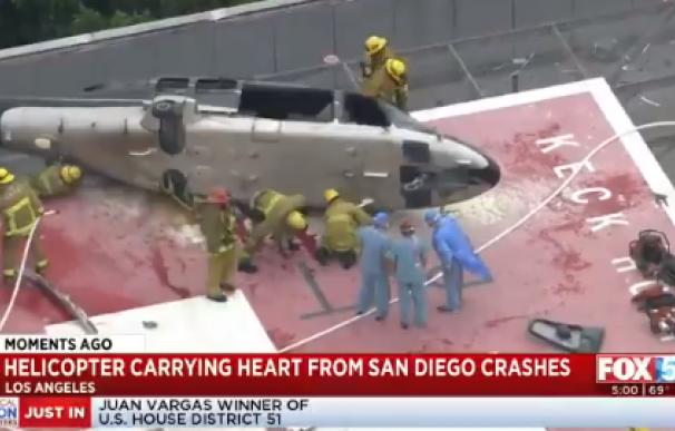 Captura del vídeo del helicóptero que llevaba el corazón de un donante