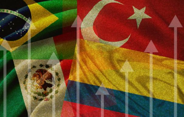 Gráfico 2x2 Las divisas de Brasil, Turquía, Colombia y México viven una recuperación de récord