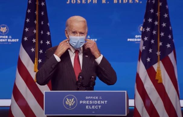 El presidente electo de EEUU, Joe Biden, en una intervención pública este viernes.