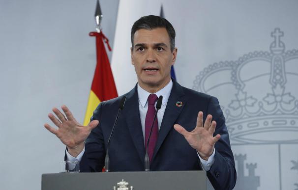 El presidente del Gobierno, Pedro Sánchez, en rueda de prensa ofrecida en Moncloa.
