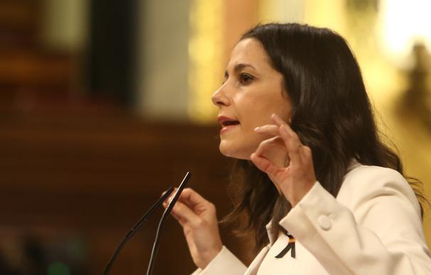 La presidenta de Ciudadanos, Inés Arrimadas, interviene durante un pleno en el Congreso.