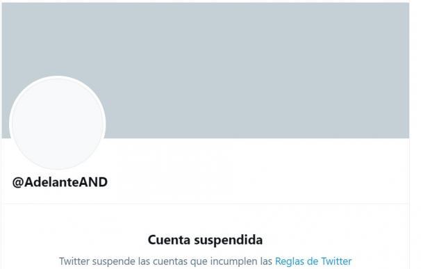 Cuenta de Adelante Andalucía suspendida en Twitter.