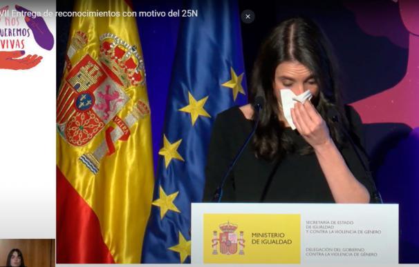 Irene Montero rompe a llorar en un acto institucional en un acto por la violencia de género