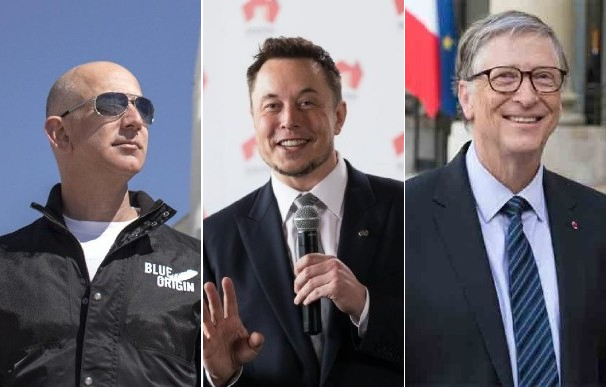 Jeff Bezos, Elon Musk y Bill Gates