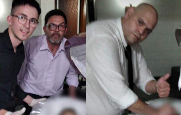 Fotos junto al cadáver de Maradona en la funeraria