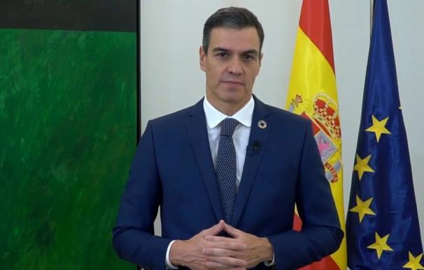 El presidente de Gobierno, Pedro Sánchez, durante su intervención en la Cumbre de Acción Climática