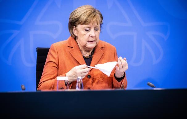 La canciller alemana, Angela Merkel, durante la comparecencia de este domingo.