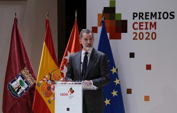 El rey Felipe VI en los Premios Empresariales 2020 de la Confederación Empresarial de Madrid-CEOE (CEIM).