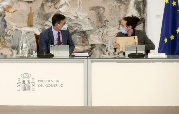 El presidente del Gobierno, Pedro Sánchez, junto al vicepresidente segundo, Pablo Iglesias, en la reunión del Consejo de Ministros del 15 de diciembre de 2020