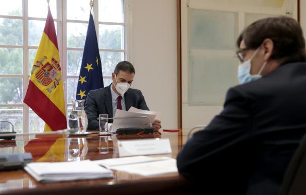 Pedro Sánchez, durante una reunión en Moncloa
