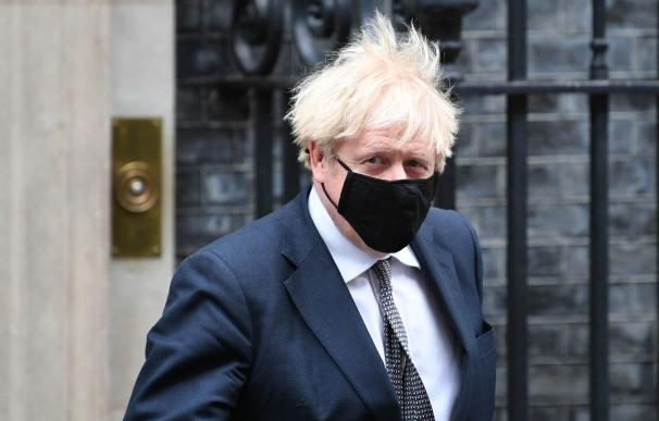 UK Prime Minister Boris Johnson leaves 10 Downing Street to attend Prime Minister's Questions at the Houses of Commons.