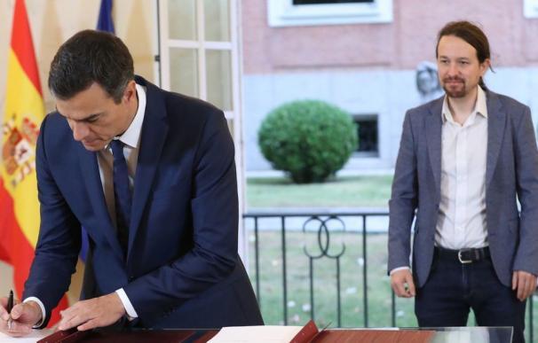 Pedro Sánchez firma el acuerdo con Podemos que plasmó la subida del SMI a 900 euros.