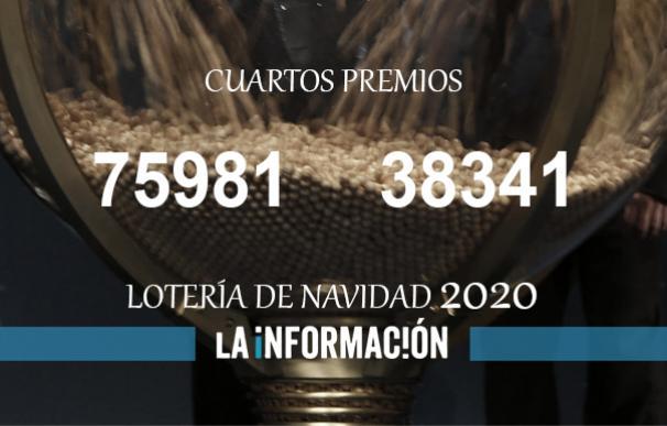Los dos cuartos premios de la Lotería de Navidad 2020.