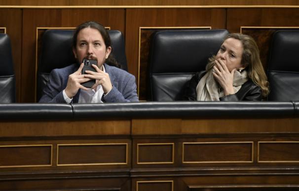 El vicepresidente del Gobierno de Derechos Sociales y Agenda 2030, Pablo Iglesias; y la Vicepresidenta Tercera del Gobierno y Ministra de Asuntos Económicos y Transformación Digital, Nadia Calviño