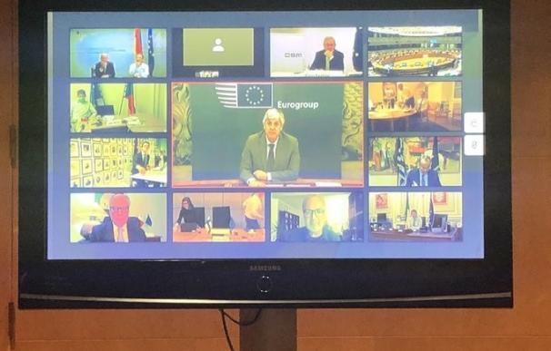 Reunión del Eurogrupo por videoconferencia el pasado mes de abril