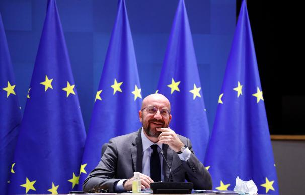 HANDOUT - 21 January 2021, Belgium, Brussels: European Council President Charles Michel takes part in a EU summit video conference at the European Council headquarters. EU leaders were striving to forge a strategy to keep in check fast-spreading new coronavirus variants, with some nations warning they may have to tighten borders. Photo: Dario Pignatelli/European Council/dpa - ATTENTION: editorial use only and only if the credit mentioned above is referenced in full Dario Pignatelli / European Counci / DPA 21/1/2021 ONLY FOR USE IN SPAIN