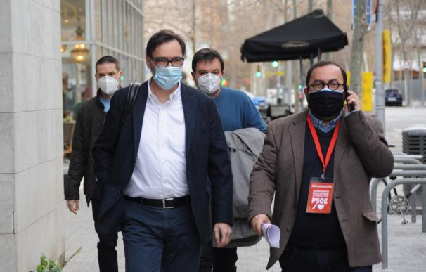 El ministro de Sanidad y cabeza de lista del PSC a las elecciones catalanas, Salvador Illa, entrando en el Comité Federal del PSOE, celebrado el 23 de enero en Barcelona ALBERTO PAREDES - EUROPA PRESS 23/1/2021