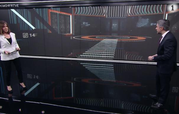 La larga pantalla del plató se transformaba en una ventana al estudio de Barcelona, lo que dará muchas posibilidades para conectar con la actualidad con la mezcla de proyección y juego de perspectiva de realidad aumentada