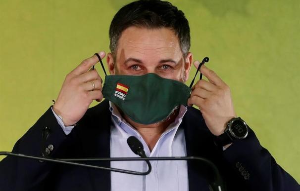 El presidente de VOX, Santiago Abascal, valora en Barcelona los resultados obtenidos