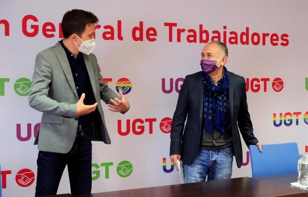 El líder de Más País, Iñigo Errejón, junto al secretario general de UGT, Pepe Álvarez