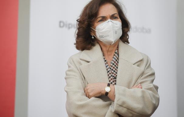 La vicepresidenta primera del Gobierno, Carmen Calvo. MARÍA JOSÉ LÓPEZ/EUROPA PRESS 26/2/2021