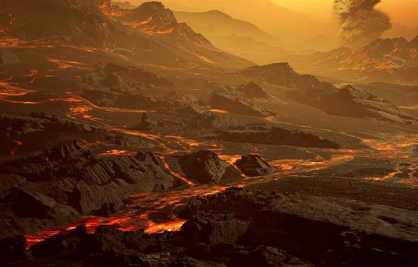 -Impresión artística de la superficie del exoplaneta Gliese 486b