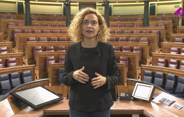 """05/03/2021 La presidenta del Congreso, Meritxell Batet, el 8 de marzo de 2021. La presidenta del Congreso, Meritxell Batet, ha llamado este 8 de marzo a """"la unidad de toda la sociedad"""" para garantizar """"la igualdad real y efectiva"""" en todos los ámbitos entre hombres y mujeres y a """"educar en igualdad"""" con el mismo objetivo. """"Sin el avance de las mujeres no hay futuro"""", ha aseverado. POLITICA CONGRESO"""