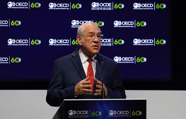 HANDOUT - 14 December 2020, France, Paris: OECD's Secretary General Angel Gurria delivers a speech during a ceremony marking the 60th anniversary of the creation of the Organisation for Economic Co-operation and Development (OECD) at its headquarters in Paris. Photo: Dario Pignatelli/EU Council/dpa - ATTENTION: editorial use only and only if the credit mentioned above is referenced in full (Foto de ARCHIVO) 14/12/2020 ONLY FOR USE IN SPAIN
