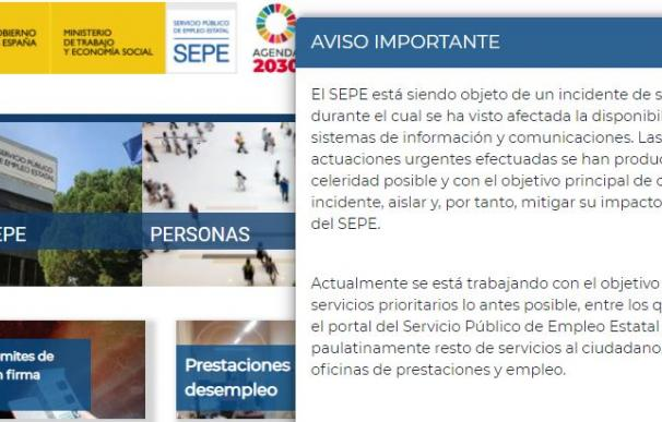 La web del SEPE sigue sin acceso