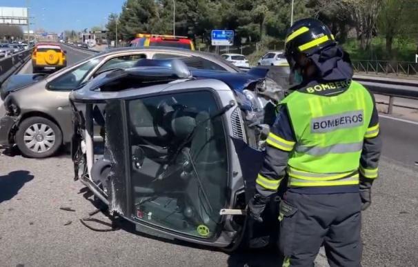 Aparatoso accidente en Madrid