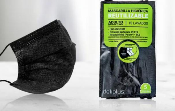 Pack de cinco mascarillas higiénicas reutilizables con hasta 15 lavados de Mercadona.